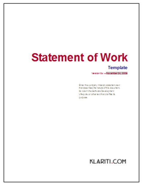 statement of work template instant download free excel