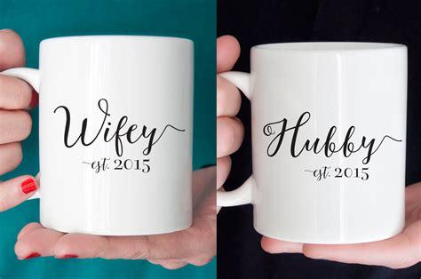 mug design for husband wifey and hubby wedding mug gifts