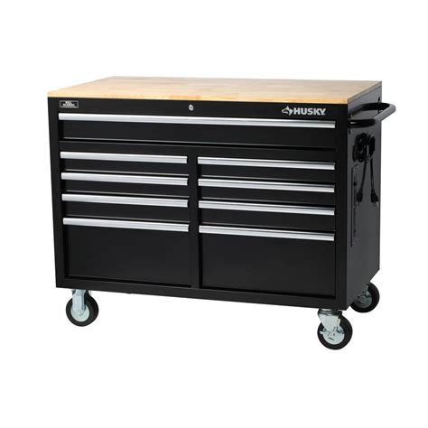 husky 46 inch 9 drawer mobile workbench with solid wood top husky extra deep 46 in 9 drawer mobile workbench