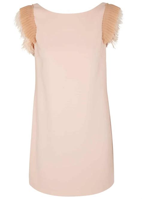 three feathers in blush teal pinko cher blush feather trimmed blush pink dress we