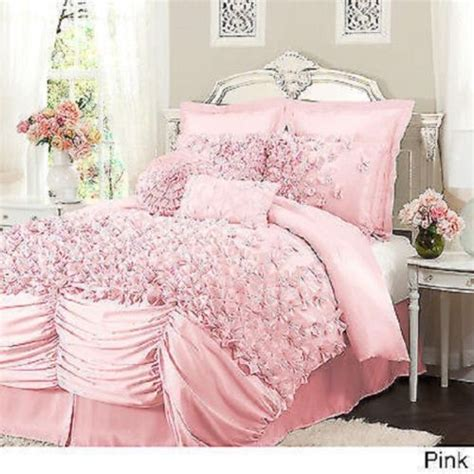 Pink King Comforter by Beautiful Luxurious Soft White Ivory Ruffle