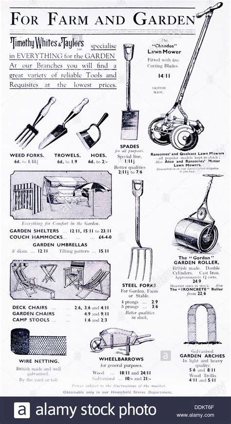 advertisement for gardening tools and equipment in a 1936