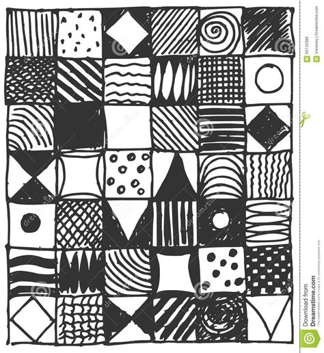 square pattern sketch collection of hand drawn doodle square pattern stock
