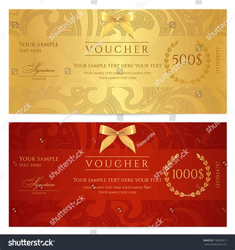 design background voucher voucher gift certificate coupon template floral scroll