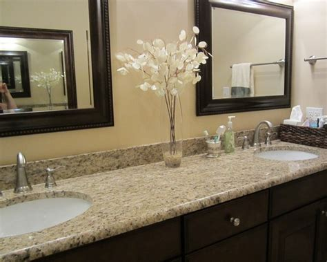 granite colors for bathrooms upstairs guest bathroom giallo ornamental granite w dark