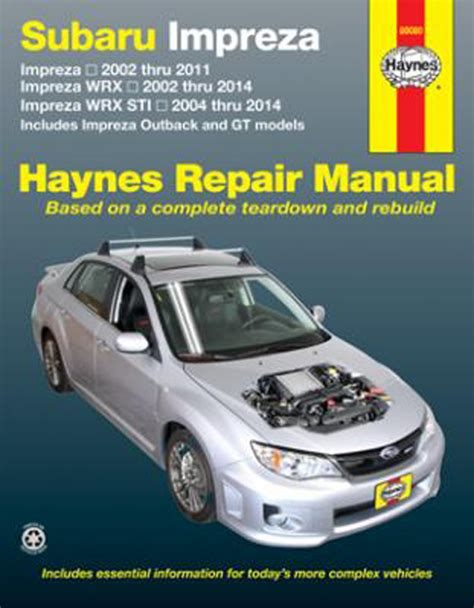 subaru impreza haynes repair manual 2002 2014 hay89080