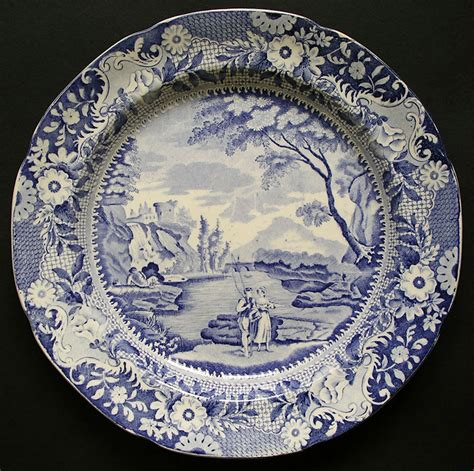 blue and white pattern plates rockingham yorkshire brameld pattern castle of rochefort