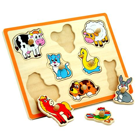 Spesial Knob Puzzle Zoo Animals wooden knob puzzle farm animals curious
