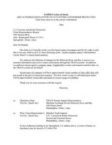 Letter Of Intent Bureau Of Customs Sle Ams Authorization Letter To Us Customs And Border Protection In Word And Pdf Formats