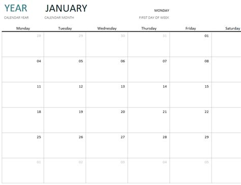blank 1 month calendar template any year one month calendar