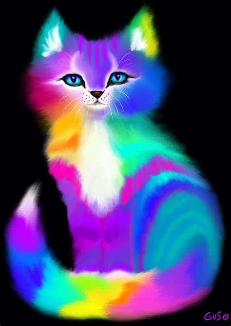 colorful cat wallpaper colorful kitten nick gustafson digital art animals