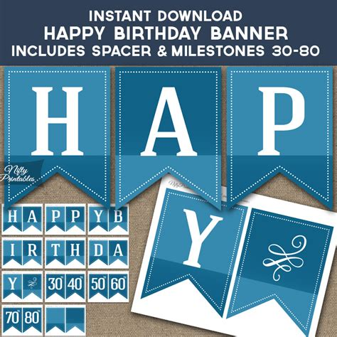 Printable Happy Birthday Banner Blue | printable blue happy birthday banner