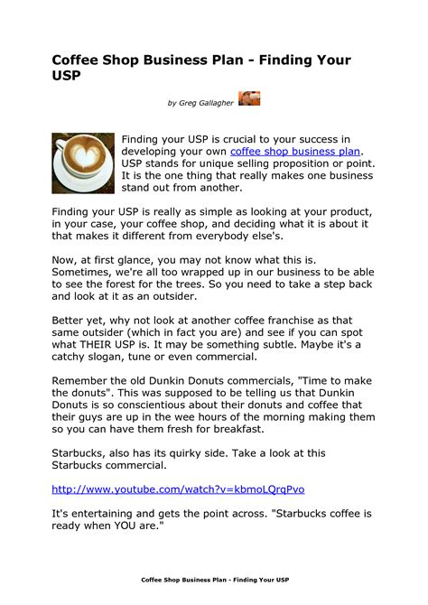 Business Plans For Coffee Shops Planning Business Strategies Shop Business Plan Template