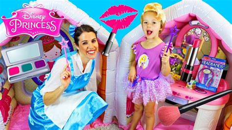 Makeup Makeover And The Beast disney princess dress up play house with the