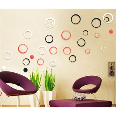 wallpaper sticker dinding 3d sticker 3d wallpaper dinding circle ring 5pcs red