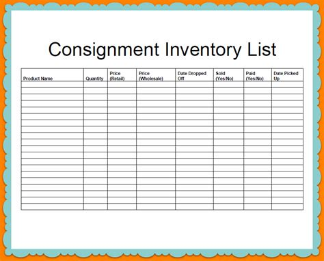 stock photo template company consignment and inventory stock list template