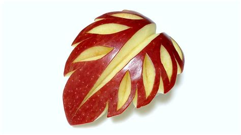 design apple fruit art in apple leaf fruit carving beginners lesson 41 by