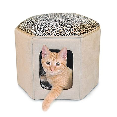 heated cat bed buy thermo kitty sleephouse heated cat bed in tan leopard