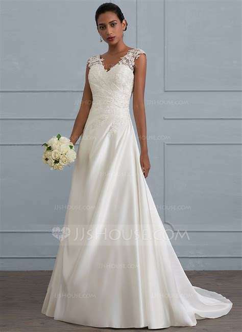Sweep Wedding Dress by Gown V Neck Sweep Satin Wedding Dress With