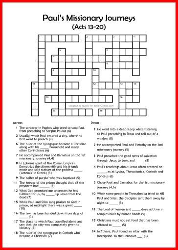 Bible Crossword Puzzles Printable