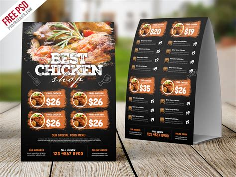 menu tent card template restaurant tent card food menu free psd psdfreebies