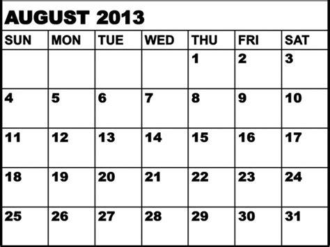Calendar August 2013 Calendar August 2013 Calendar Printable 2017