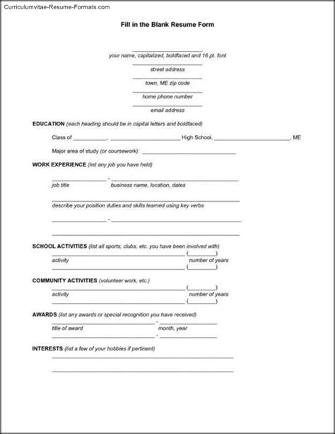 curriculum vitae empty format blank resume template pdf free sles exles
