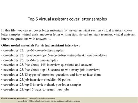 top 5 virtual assistant cover letter sles