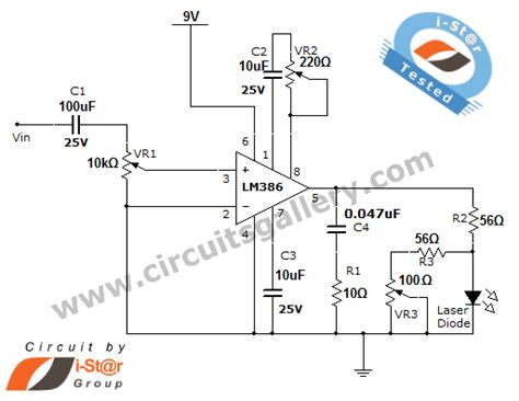 laser diode circuit diagram laser communication project circuit schematic using laser diode and lm386 low voltage audio