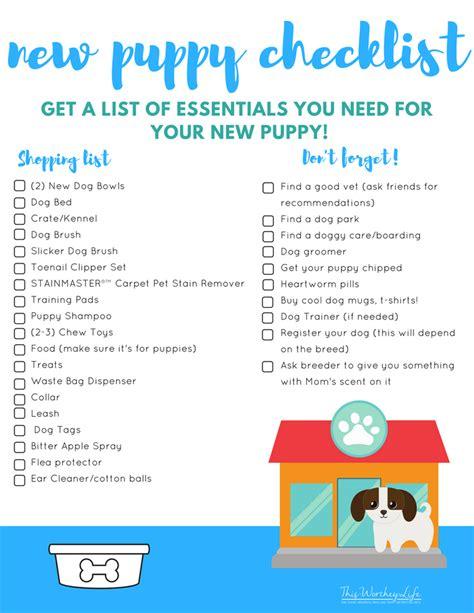 new puppy essentials new puppy essentials checklist free printable