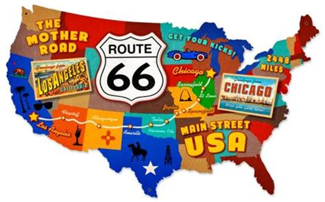map of the united states route 66 route 66 usa mother road map tin metal sign reproduction