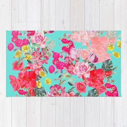 Bright Floral Rugs by Bright And Colorful Floral Print Woven Rug Pink Yellow