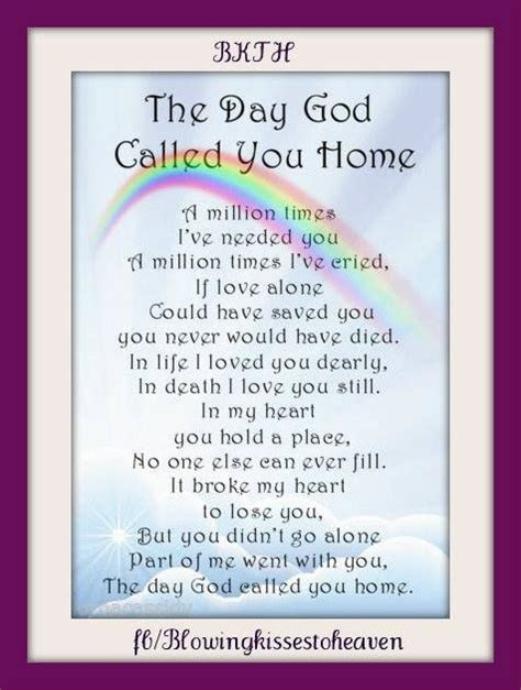 the day god called you home missing you