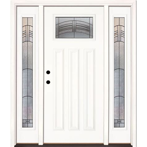 Feather River Doors 63 5 In X 81 625 In Rochester Patina Front Entry Doors With Sidelites