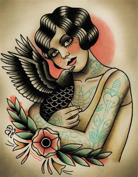 tattoo old school qd flapper and crow tattoo art print