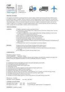 logistics manager cv template exle description