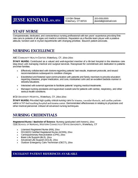 Nurse Resume Sample – Registered nursing resume template