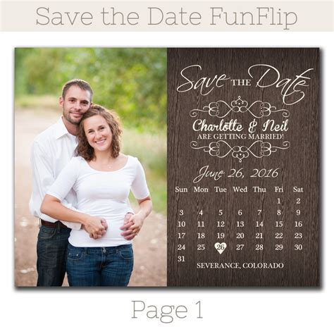 Date At Wedding Shop rustic calendar save the date magnet funflip the print cafe