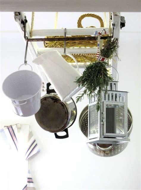 Kitchen Ladder Pot Rack 25 Unique Ways To Decorate With Vintage Ladders Driven