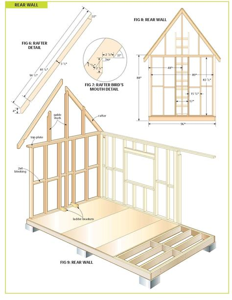 framing view diy shed plans building  tiny