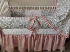 pink and gray damask baby bedding crib set deposit