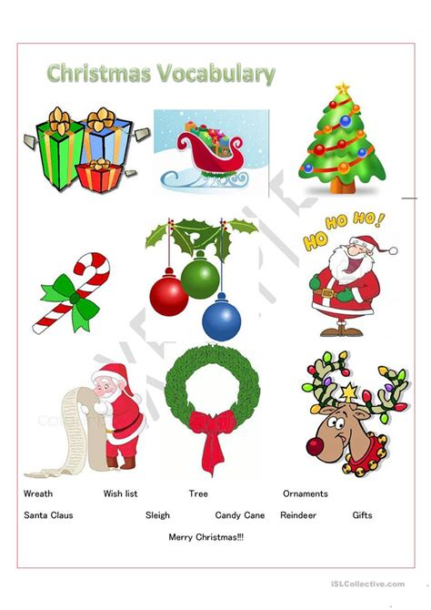 printable christmas english worksheets christmas vocabulary worksheet free esl printable