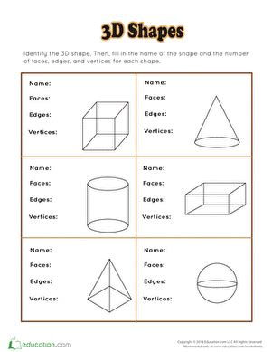 Three Dimensional Shapes Worksheets For Grade by 3d Shapes Worksheets Free Printables Education