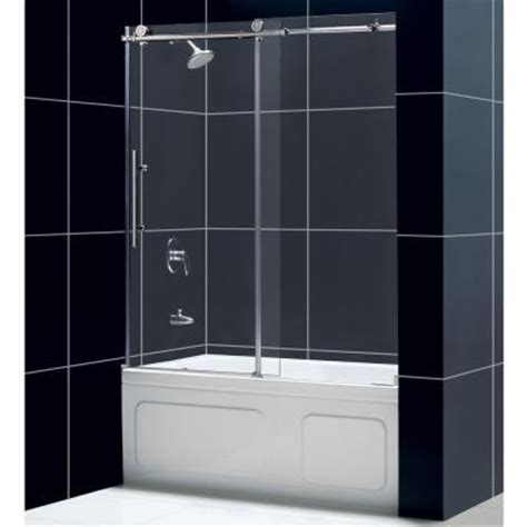 Shower Door At Home Depot Dreamline Enigma X 59 In X 62 In Frameless Sliding Tub Shower Door In Brushed Stainless Steel