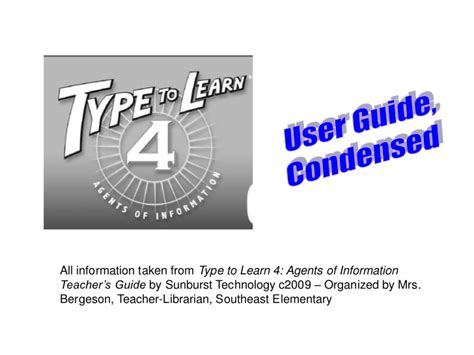 type to learn 4 agents of information home version ttl type to learn directions for students