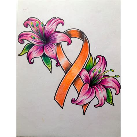 leukemia ribbon tattoo designs traditional leukemia ribbon with lillies