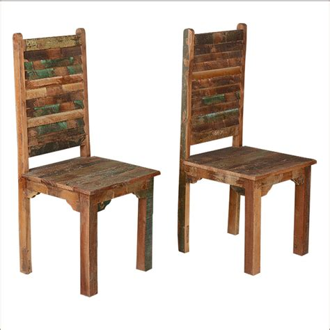 Reclaimed Wood Dining Room Furniture Rustic Distressed Reclaimed Wood Multi Color Kitchen Dining Room Chairs Set Of 2 Ebay