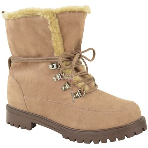 new womens faux fur grip sole lace up winter ankle
