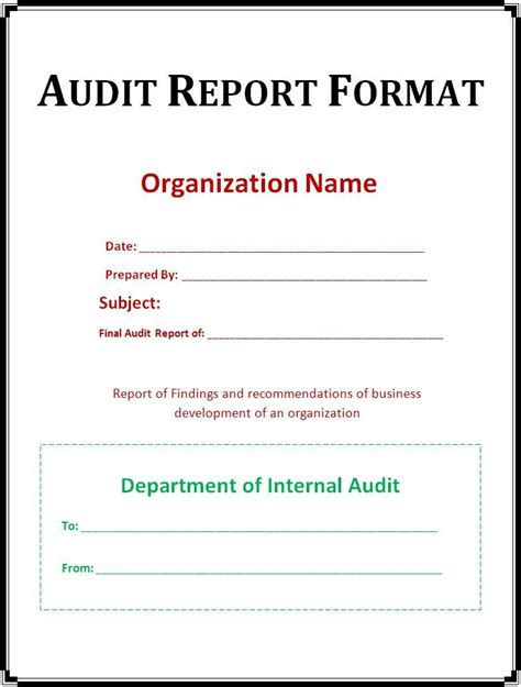 audit report template free printable word templates