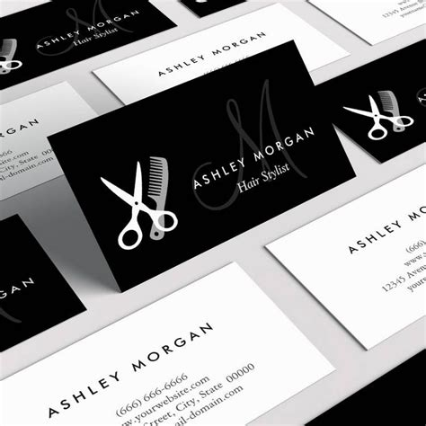 salon free business card template black white monogrammed hair salon hairstylist business